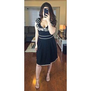 Kate Spade Silk Black White Ruffle Collar Dress